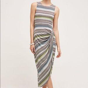 Anthropologie Gathered Stripes Midi Dress